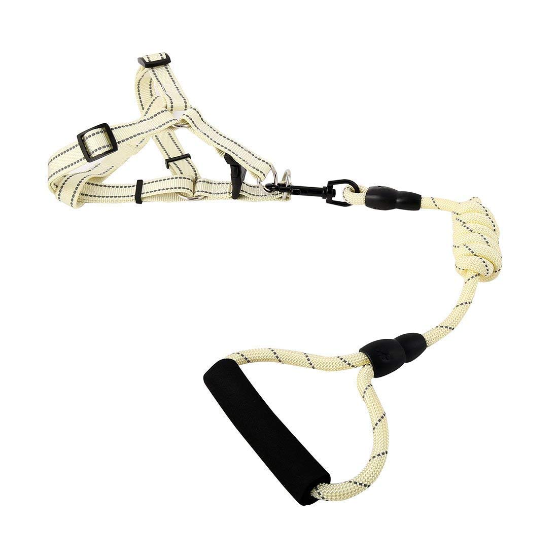 1Pc XL, Beige   Nylon Travel Walking Adjustable Reflective Leash Rope Dog Pet Neck Belt Harness