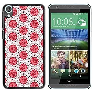 Be Good Phone Accessory // Dura Cáscara cubierta Protectora Caso Carcasa Funda de Protección para HTC Desire 820 // Tiles Pattern White Red Peach