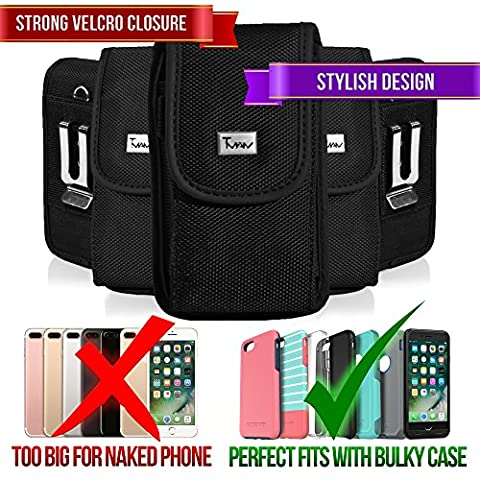 Rugged Heavy Duty Nylon Canvas Vertical EXTRA LARGE Oversize Belt Clip Case Pouch Holster for LG Spectrum Revolution 2 Nitro HD P930 Optimus 4X HD P880 [PERFECT FITS WITH OTTERBOX DEFENDER ON IT (Lg Nitro Hd P930 Otter Box)