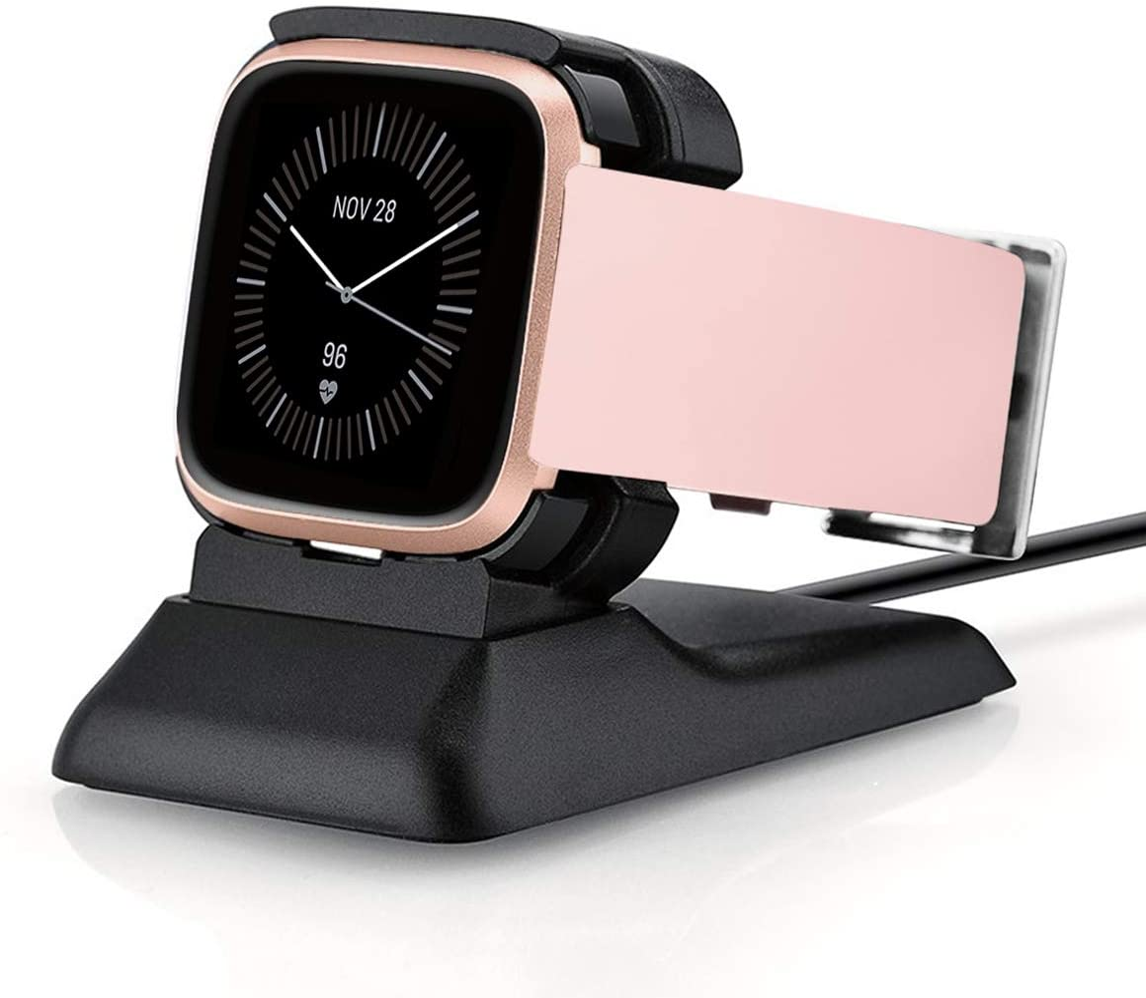 Kartice Charger Compatible with Fitbit Versa 2 Charger Stand Charging Dock for Fitbit Versa 2 Charging Clip Premium Plastic Cable (Black)