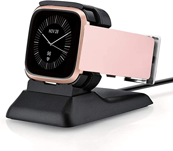 Kartice Charger Compatible with Fitbit Versa 2 Charger Stand (Not for Versa) Charging Dock for Fitbit Versa 2 Charging Clip Premium Plastic Cable ...