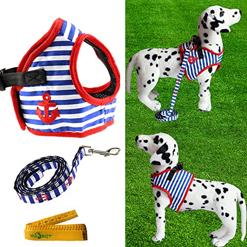 Pet Dog Harness and Leash Set Blue and White Navy Striped Sailor Anchor Style for Walking (Extra Large)