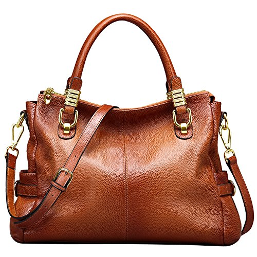 Jack&Chris Ladies Handbags and Purses Tote Bag for Women Leather Shoulder Bag, WB517 (Brown)