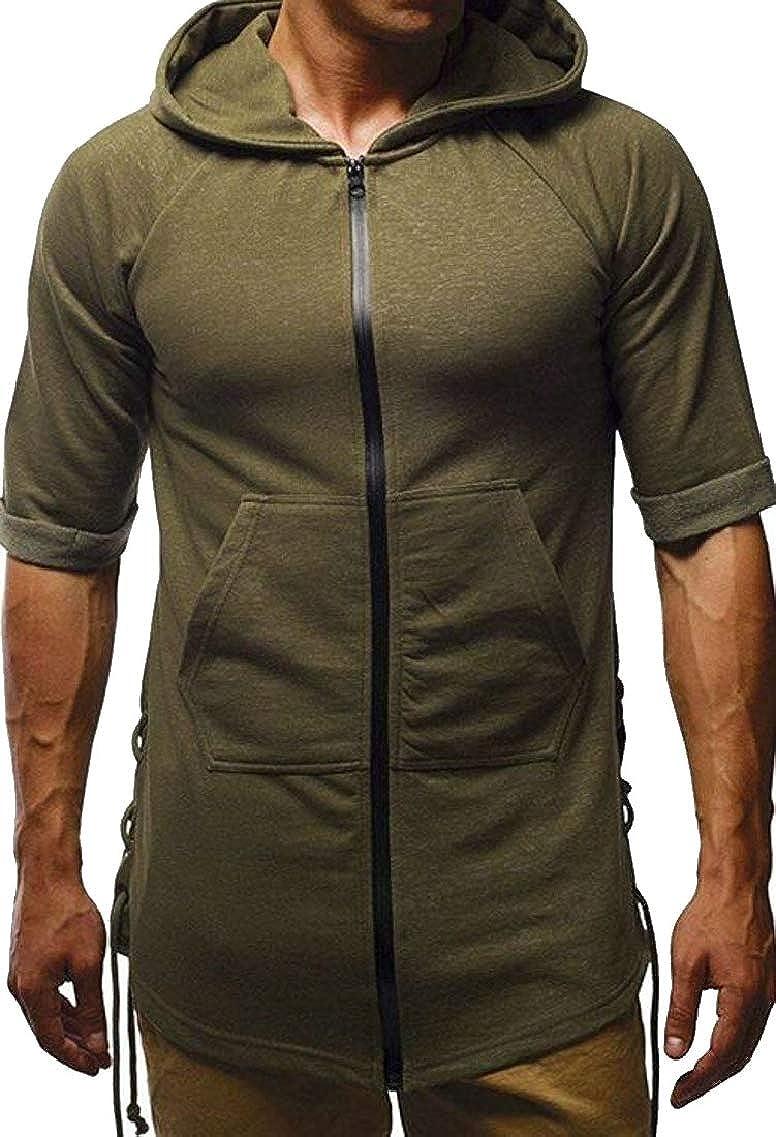 Fubotevic Men Drawstring Workout Big Pockets Hoodie Casual Zipper T-Shirts Tops