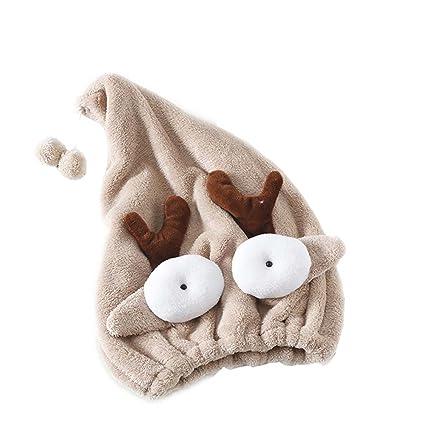 Boca Grande Gifts Treat Turbante de Secado de Pelo Toalla de Secado de Pelo de Dibujos Animados en 3D Encantadora Envoltura Absorbente de Cabello Absorbente para Adultos y Ni/ños