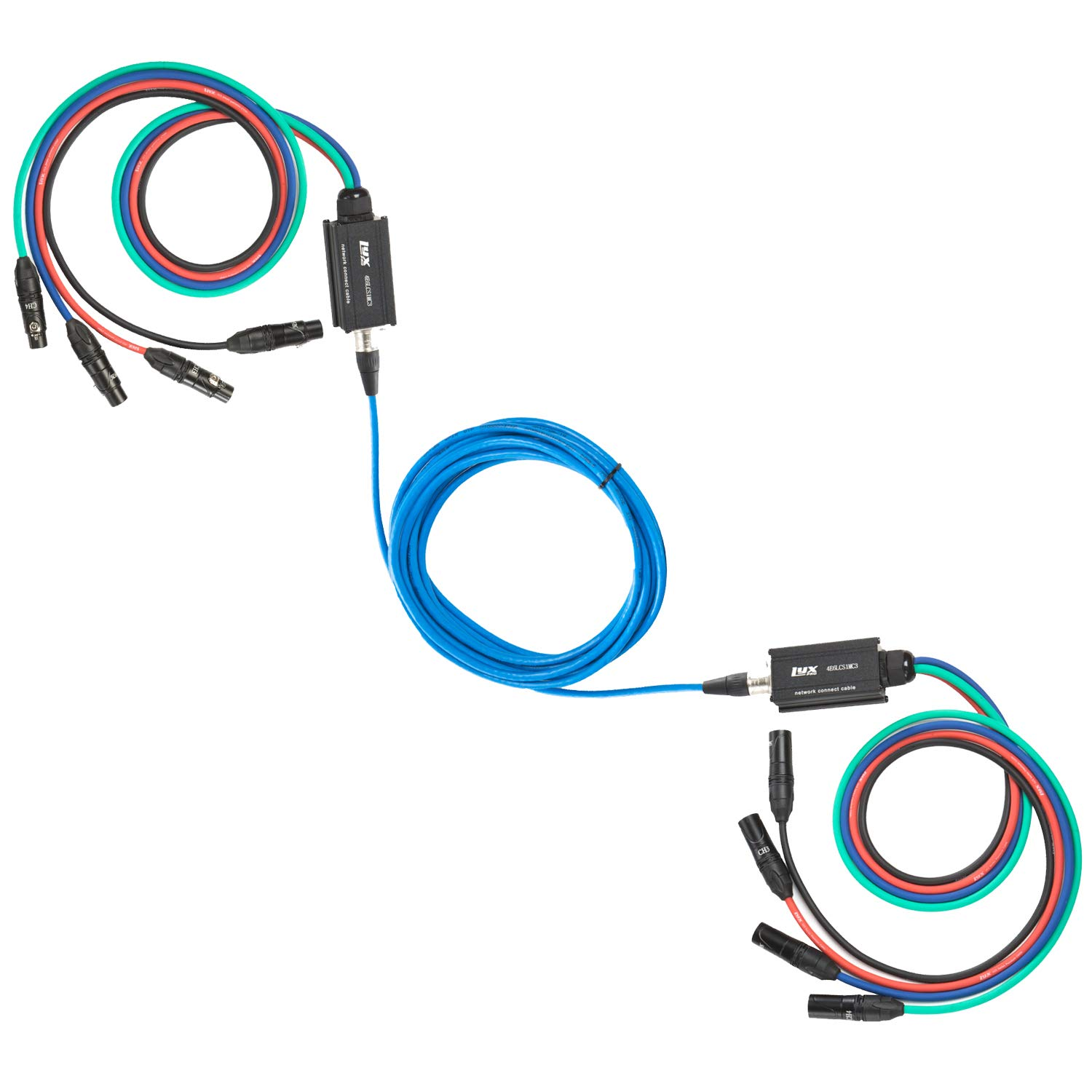 Lyxpro 4 Channel XLR Cable Snake AES & DMX - Connect 4-channle XLR to 30' Single Ethercon Cat6 Cable