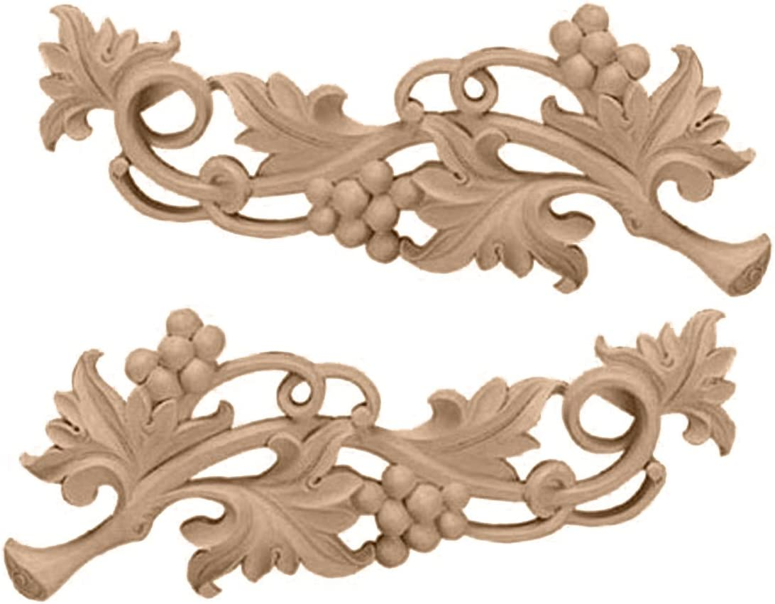 Ekena Millwork ONL09X03X01GRLW Each Side Small Grape Scrolls Pair, 9 1/4-Inch x 3 1/2-Inch x 5/8-Inch, Lindenwood