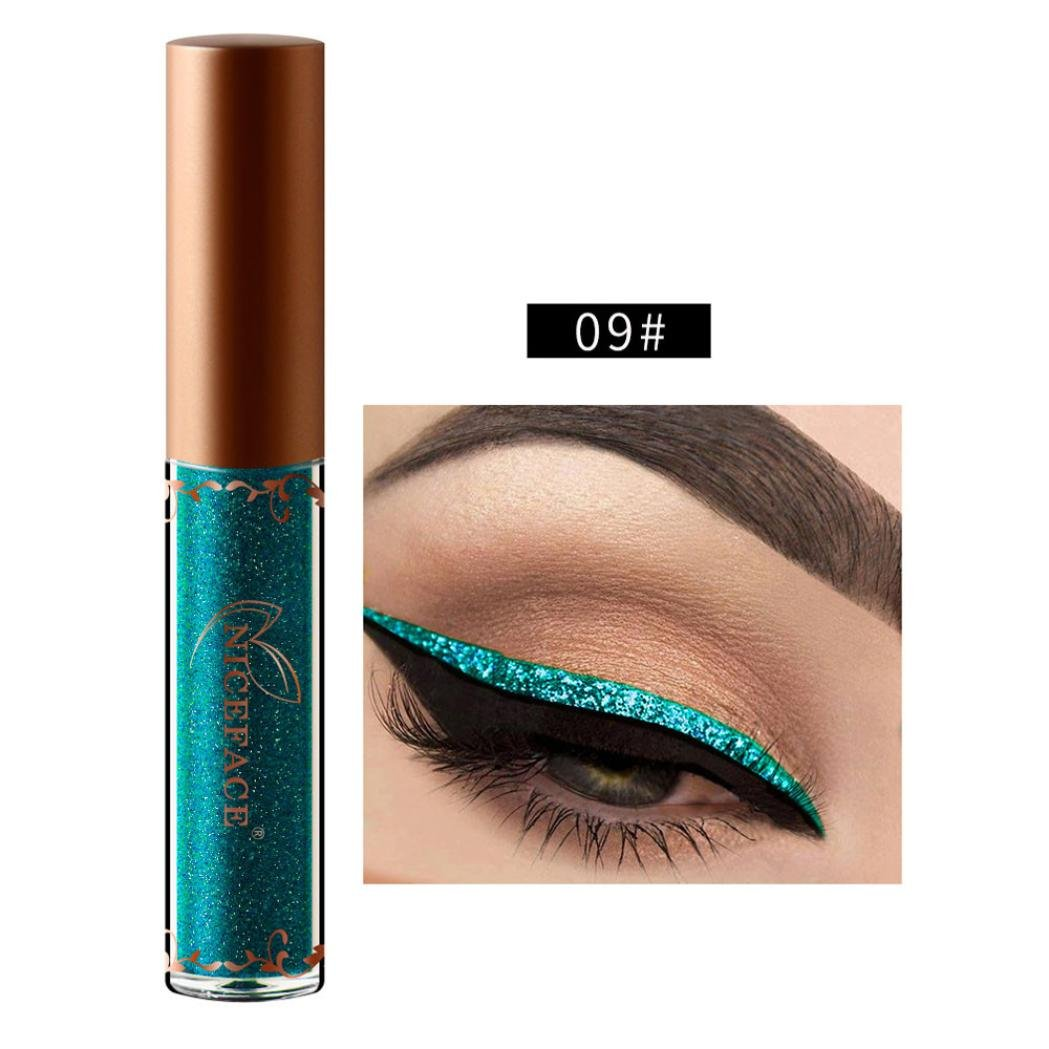 HP95(TM) Waterproof Glitter Liquid Eyeliner,Metallic Shiny Smoky Eyeshadow -Available Choose 10 Color (09#)