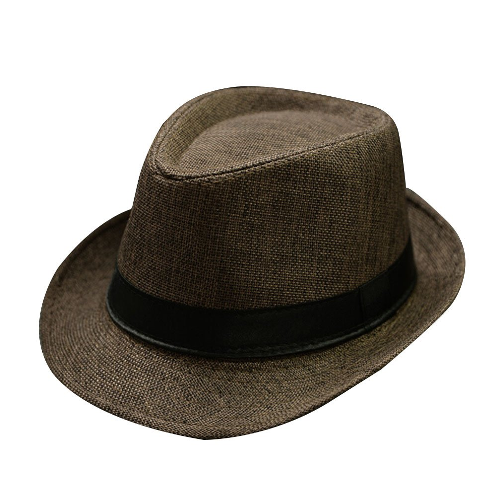Men's Summer Straw Hats Beach Cap Fedora Sun Hat Trilby Panama Jazz Hat