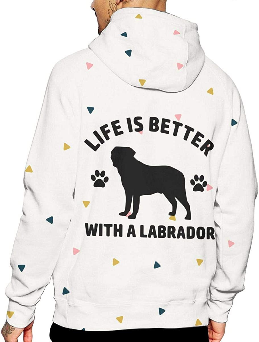 NO2XG Life is Better with A Labrador Long Sleeve Hoodie Athletic Sweaters for Mens Winter Sweatshirt