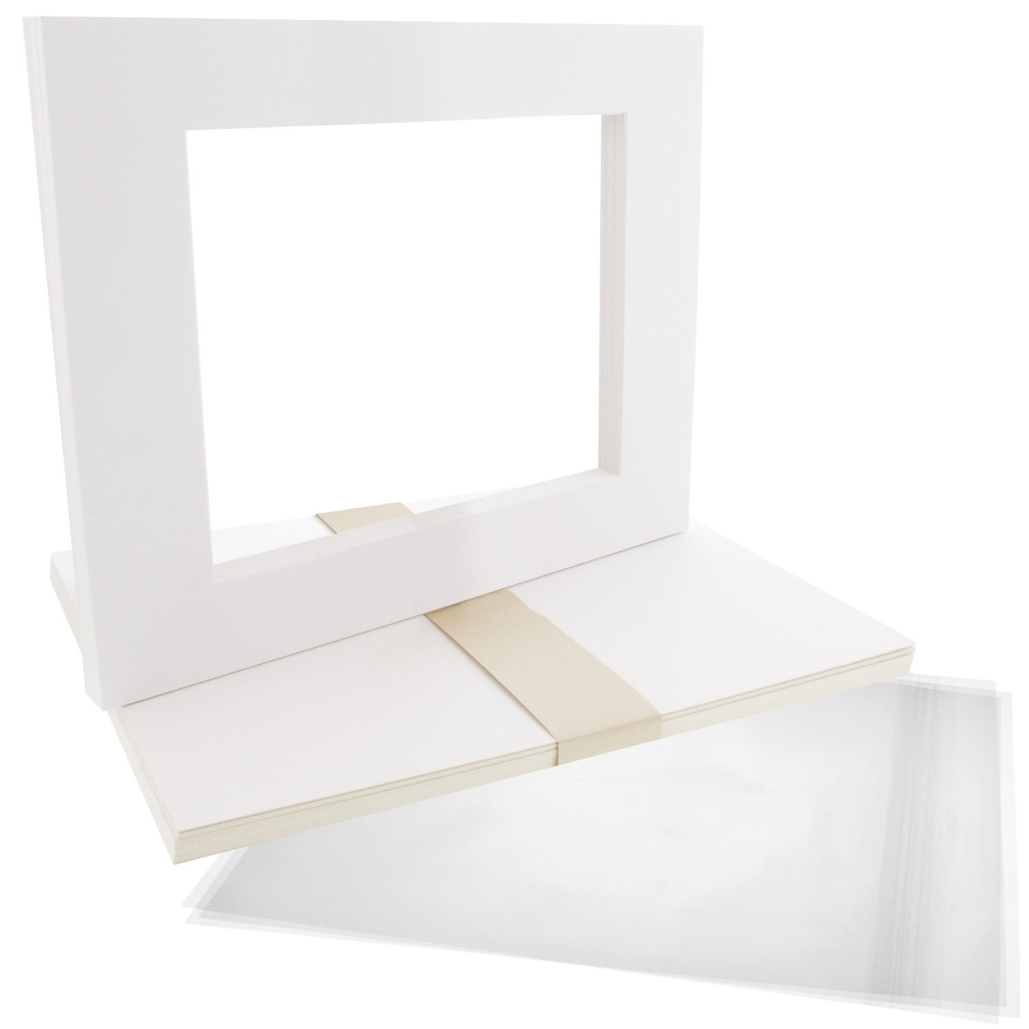 US Art Supply Art Mats Acid-Free Pre-Cut 16X20 White Picture Mat Matte Sets. Includes a Pack of 10 White Core Bevel Cut Mattes for 11X14 Photos, Pack of 10 Backers & 10 Clear Sleeve Bags