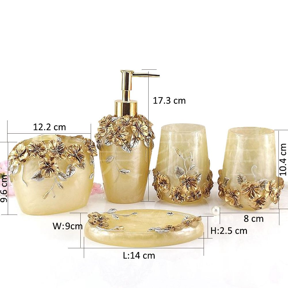 Amazon.com: Marquee Bath Ensemble, 5 Piece Bathroom Accessories Set ...