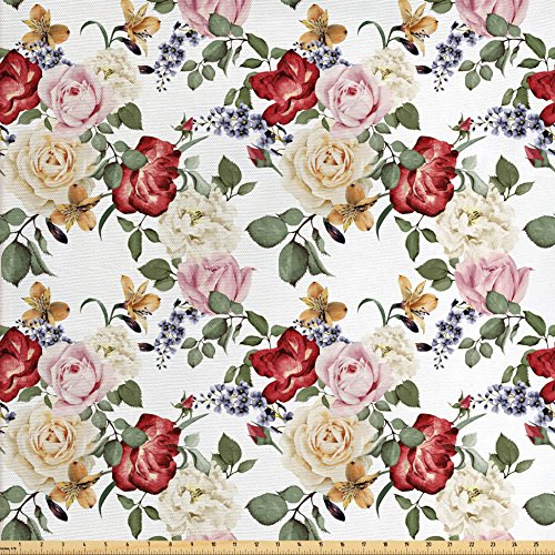 Rose Fabric Floral (Ambesonne Shabby Chic Fabric by The Yard, Summer Spring Season Buds Roses Lilacs Flowers Leaves Print, Decorative Fabric for Upholstery and Home Accents, Light Pink Green Cream and Red)