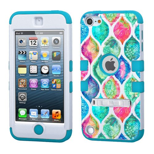 iPod touch 5th 6th Generation Paisley Pattern,White Plastic/Blue Silicone 3-Piece Style Hybrid Hard Case Cover for Apple- For Girls And Boys-Shockproof Dustproof with Stand (Paisley Pattern )