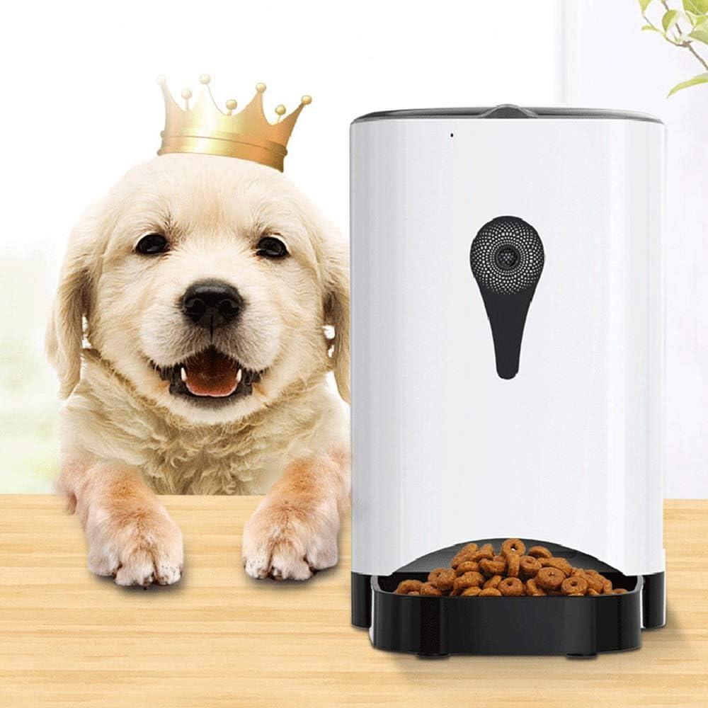 TOMSSL 白いボタン手動制御ペット犬猫自動送り装置4.5L大容量記録可能なカメラ送り機ボウルタイミング定量的デュアルパワーバッテリー電源ABS 便利さ