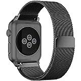 BRG コンパチブル apple watch バンド,ミラネーゼループ コンパチブルアップルウォッチバンド ステンレス留め金製 アップルウォッチ4 コンパチブル apple watch series5/4/3/2/1に対応(38mm/40mm,ブラック)