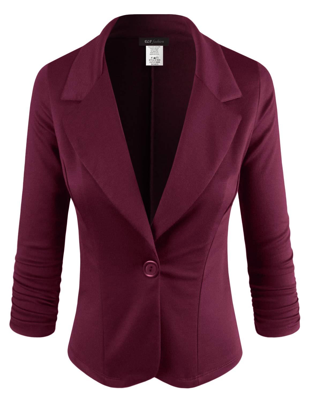 ELF FASHION Women Casual Work Knit Office Blazer Jacket Made in USA (Size S~3XL) NEWBURGUNDY S
