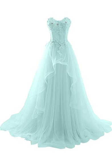 Avril Dress Romantic Strapless Layered Tulle Train Applique Lace ...