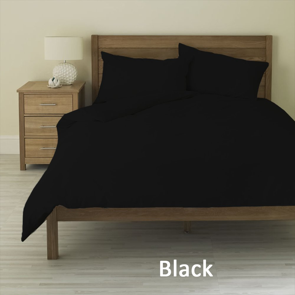 100% Pima Cotton 400-Thread-Count Super Soft Designer 3-Piece Luxury Duvet Cover Extra Long Solid with Heavy Fabric (Twin XL , Black)
