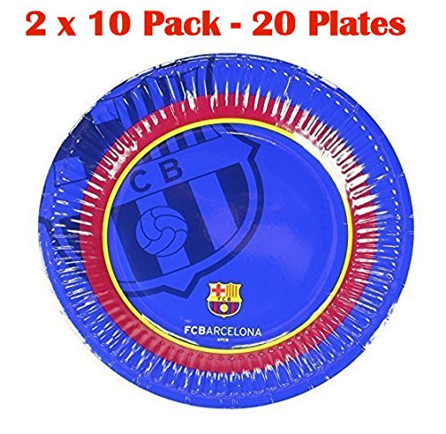 2 x Official Barcelona Soccer Football Club FC Barcelona 10 Pack Paper Party Plates 20cm Glossy Finish - Barcelona Finish