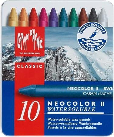 Caran Dache Neocolor II - Juego de ceras de color (10 unidades, caja metálica): Amazon.es: Oficina y papelería