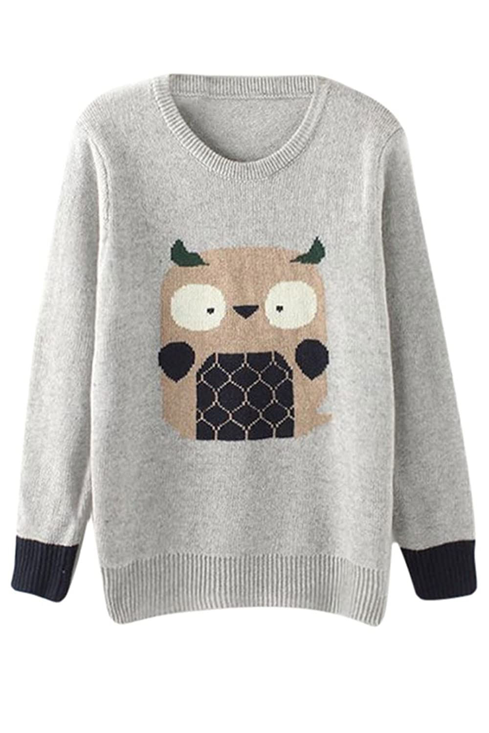 KAKALOT Women's Fashion Owl Print Oversize Knitted Pullover Sweater Jumper