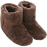 Mianshe 北欧 暖かい もこもこ ルームシューズ 男女兼用 足首まで暖かルームブーツ 冬用 防寒 ボアスリッパ (ブラウン XLサイズ 28.5cmくらいまで)