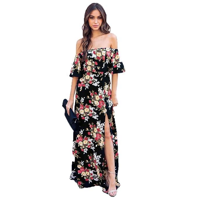 2d40116f1b7 Women s   Girl s Print Summer Floral Print Boheian Split Off Shoulder Sexy  Chiffon Dress (M