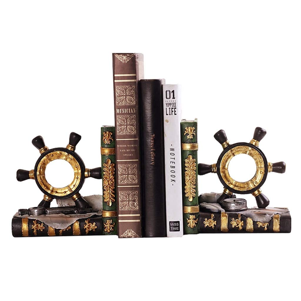 Xilin-shop Bookends Nonskid Gifts & Decor Office Library Rudder Nautical Theme Bookend Set 6.2 Inch Tall Art Bookend by Xilin-shop