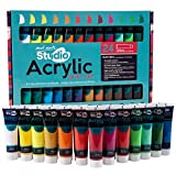 Office Products : Mont Marte Acrylic Paint Set 24 Colours 36ml, Perfect for Canvas, Wood, Fabric, Leather, Cardboard, Paper, MDF and Crafts
