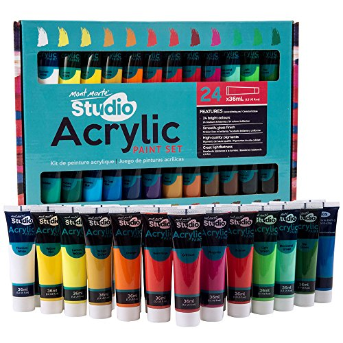 Mont Marte Acrylic Paint Set 24 Colours 36ml, Perfect for Canvas, Wood, Fabric, Leather, Cardboard, Paper, MDF and Crafts ()