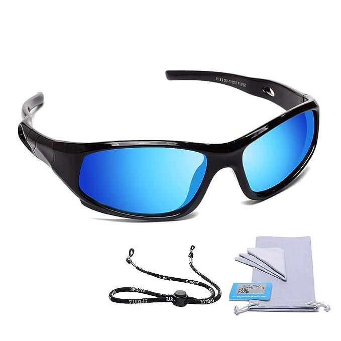 4eaeacb860 AODUOKE anteojos de sol polarizadas para niños y niñas, con lentes de  espejo y correa