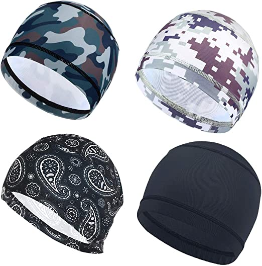 3 Pack Cycling Skull Caps Helmet Liner Cooling Caps Sweat Wicking Cycling Beanie Caps Chemo caps Dry Fit Sports Running Hat for Men Women Motorcycle Under Helmet Hard Hats Liner Hiking Exercise