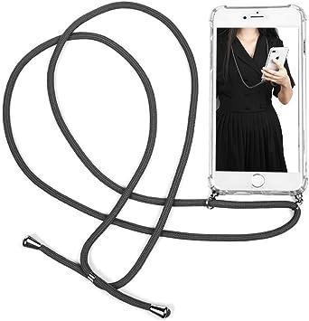 Case para iPhone 7 Plus / 8 Plus, Funda con Correa Colgante Transparente Carcasa de movil con Cuerda para Apple 7 Plus&8 Plus, con Cordon para Llevar en el Cuello, Gris: Amazon.es: