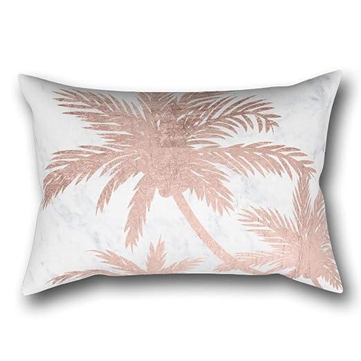 GYTOP Funda Cojín Tropical Simple Rose Gold Palmeras Mármol ...