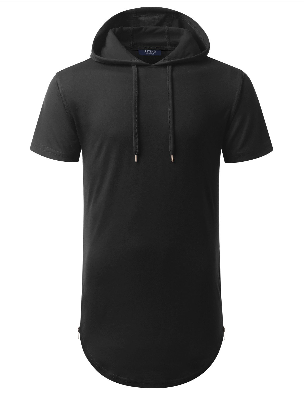 Aiyino Mens Hipster Hip Hop Longline Pullover Short Sleeve Hoodie Shirt (US 3XL, Black)
