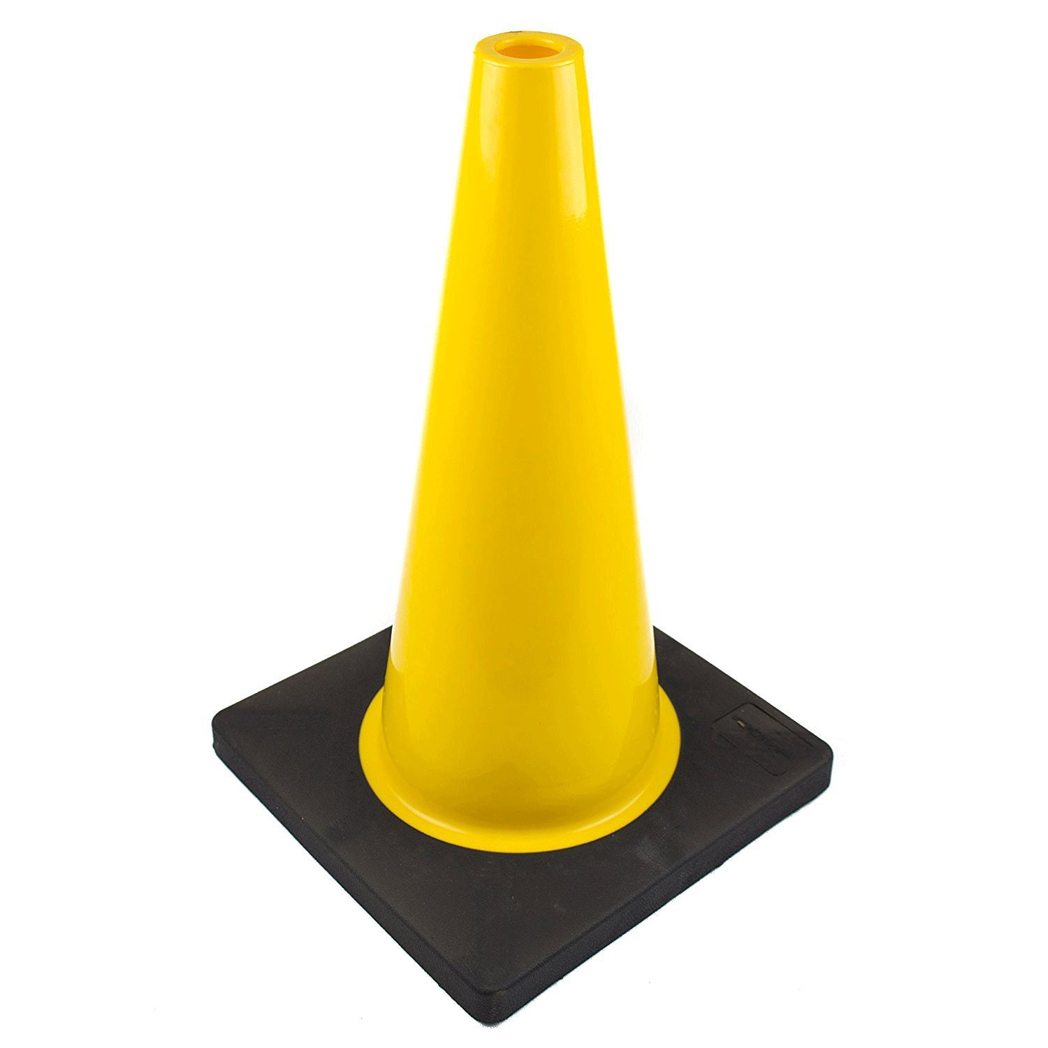 (Set of 12) RK PVC Traffic Safety Cone, Black Base, 18-Inch, Yellow