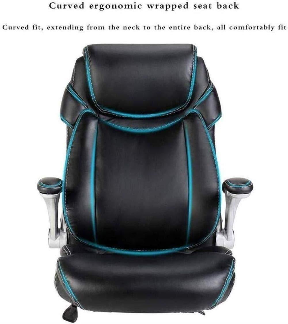 Xiuyun svängbar stol – dator kontor stol spelstol, ergonomiskt ryggstöd lyftsäte roterande lyft armstöd högkvalitativt PU-läder justerbar höjd liggande (färg: svart) Brun
