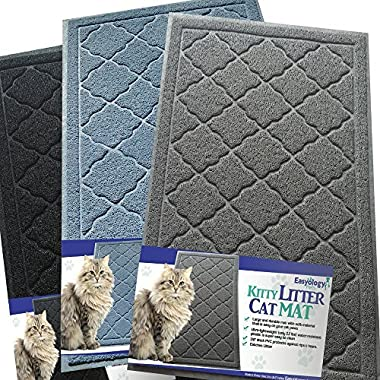 Easyology Premium Cat Litter Mat - XL Super Size - Extra Large Scatter Control Kitty Litter Mats for Cats Tracking Litter Out of Their Box - Soft to Paws- (Patent Pending) (Light gray)