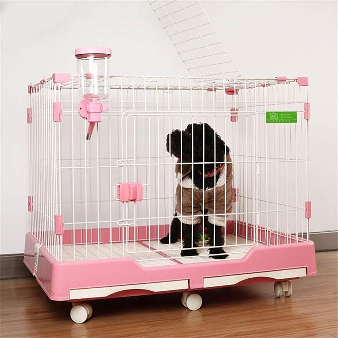 KHFJ Jaula del Animal doméstico Los cajones del Perro del Perro casero de la Jaula Alimentos for Mascotas Conejo Gato con Aseo for Mascotas Suministros for Perros Jaula de Hierro para Las Mascotas