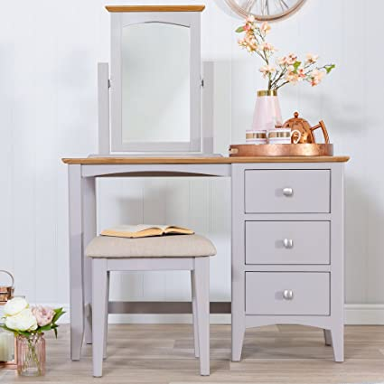 c33d0486c3e6 The Furniture Outlet Malvern Shaker Grey Painted Oak Dressing Table:  Amazon.co.uk: Kitchen & Home