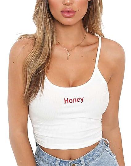 Minetom Camiseta de Tirantes para Mujer,Las Mujeres Sexy Correas de Hombro Ajustables Cuello Redondo