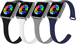 4 Pack Slim Sport Band Compatible with Watch 42mm 44mm Bands, Thin Skinny Silicone Wristband Strap Women Men for Watch Series SE/6/5/4/3/2/1 (Black/Grey/Midnight Blue/White, 42mm44mm)