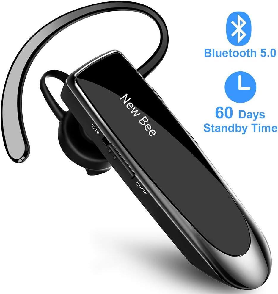 New Bee Manos Libres Auricular Bluetooth Auricular inalámbrico Bluetooth Mano Libre con tecnología de Captura de Voz Clara Auricular Bluetooth para iPhone Samsung Huawei Sony, etc (Negro)