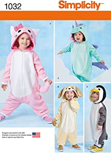 Simplicity Animal Onesie Costume for Kids Sewing Patterns, Sizes 1/2-4