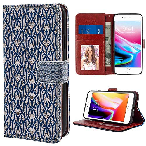 (iPhone 7 Plus, iPhone 8 Plus Wallet Case, Gothic Floral Ornament Antique Retro Revival Pattern with Royal Abstract Curves Dark Blue Brown White PU Leather Folio Case with Card Holder and ID Coin Slot)