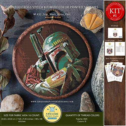 - Star Wars Boba Fett #K432 Embroidery Cross Stitch Kit | Movie Cross Stitch Kits | How to Cross Stitch | Cross Stitch Designs | Embroidery Designs