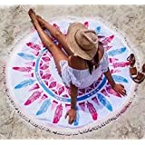 Dragon Flame Round Fringe Tassels Beach Towel - Superfine Fiber Material Beach Mat – Indian Mandala Hippy Gypsy Bohemian Styles