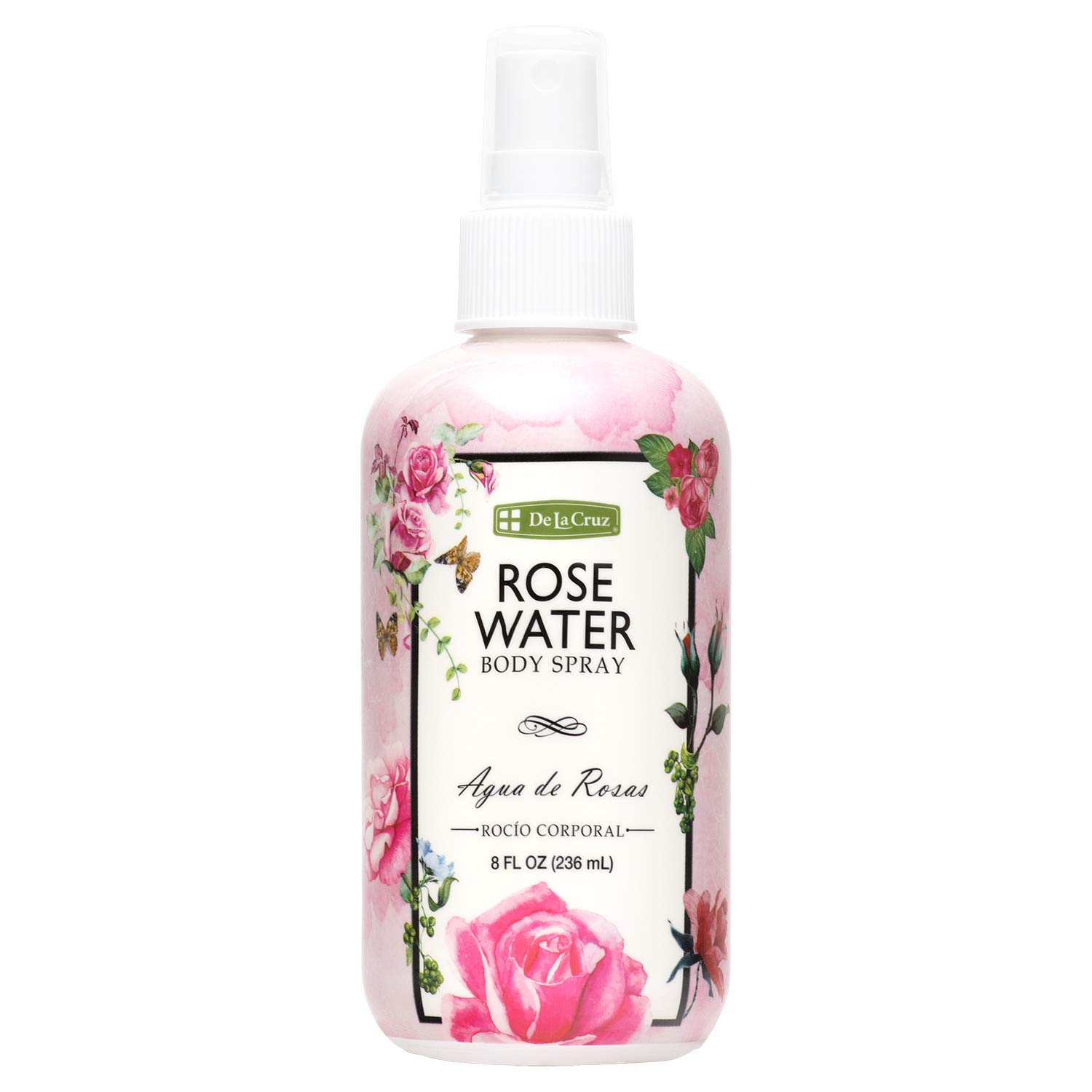 De La Cruz Rose Water Spray, No Parabens or Artificial Colors, Vegan, Made in USA 8 FL. OZ.