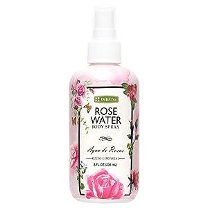 De La Cruz Rose Water Spray, No Parabens or Artificial Colors, Vegan, Made in USA 8 FL. OZ.